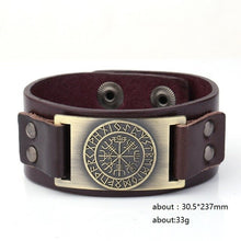 Load image into Gallery viewer, Genuine Leather Viking Compass Nordic Runes Odin Bracelet