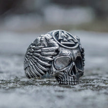 Load image into Gallery viewer, Odin with Ravens Viking Valknut Skull Ring