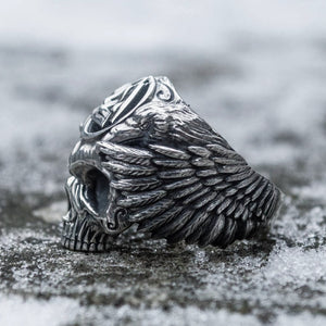 Odin with Ravens Viking Valknut Skull Ring