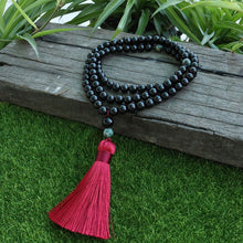 Load image into Gallery viewer, 8mm Black Onyx And Qinghai Jadeite Beads Mala Prayer Beads