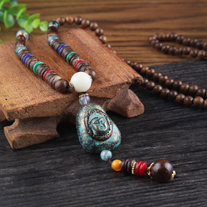 Vintage Nepal Long Wood Buddhist Mala