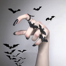 Load image into Gallery viewer, Gothic Black Flying Bat Ring