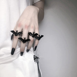 Gothic Black Flying Bat Ring