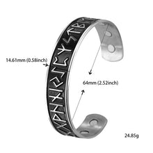 Load image into Gallery viewer, Stainless Steel Nordic Runes Viking Cuff Bangle