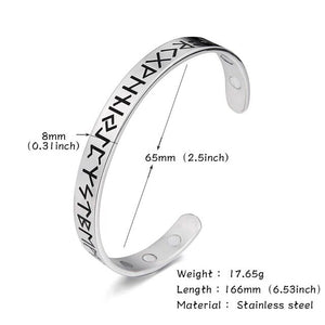 Stainless Steel Nordic Runes Viking Cuff Bangle