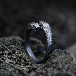 Gothic Double Snake Reptile Ring