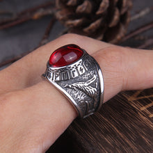 Load image into Gallery viewer, Red Stone Viking Raven and Wolf Ring