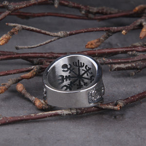 Red Stone Viking Raven and Wolf Ring