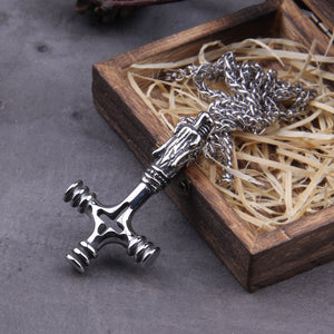 Nordic Viking Dragon Cross Necklace