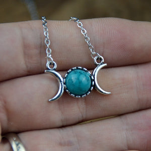 Triple Moon Goddess Necklace