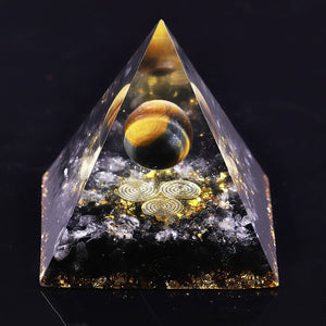 Tiger Eye Obsidian Orgonite Pyramid