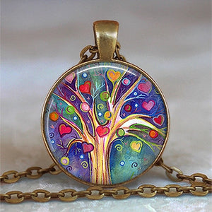 Tree Of Life Glass Cabochon Pendant Necklace