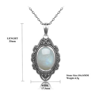 Natural Moonstone 925 Silver Sun Pendant Necklace