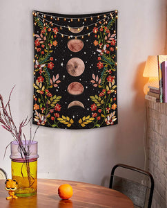 Moon Phases Flower Tapestry