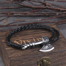 Load image into Gallery viewer, Viking Valknut Axe Leather Bracelet