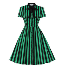 Load image into Gallery viewer, Vintage Striped Goth Midi Dress