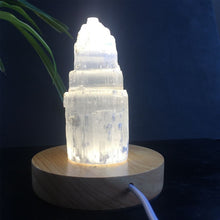 Load image into Gallery viewer, Natural Quartz Selenite Tower Lamp