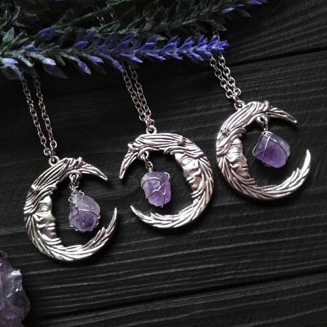 Crescent Moon Amethyst Pendant Necklace