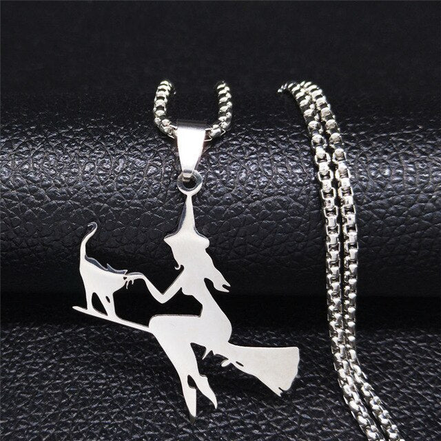 Witch with Cat Riding Broom Pendant Necklace