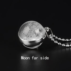 Double Sided Moon Phase Glass Necklace