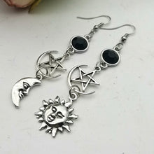 Load image into Gallery viewer, Crescent Goddess Pentagram Witch Moon Earrings