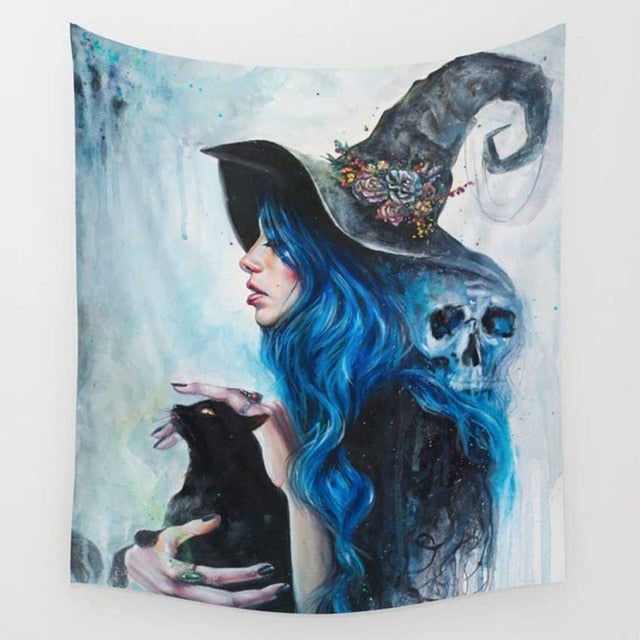 Skull Witch Black Cat Tapestry