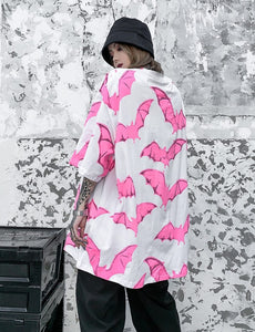 Oversized Pink Bats Graphic Tee