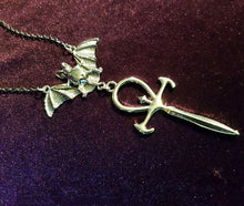 Load image into Gallery viewer, Vampire Bat Ankh Pendant Necklace