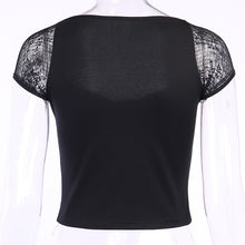 Load image into Gallery viewer, Goth Lace Patchwork Square Collar Top