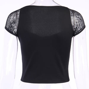 Goth Lace Patchwork Square Collar Top