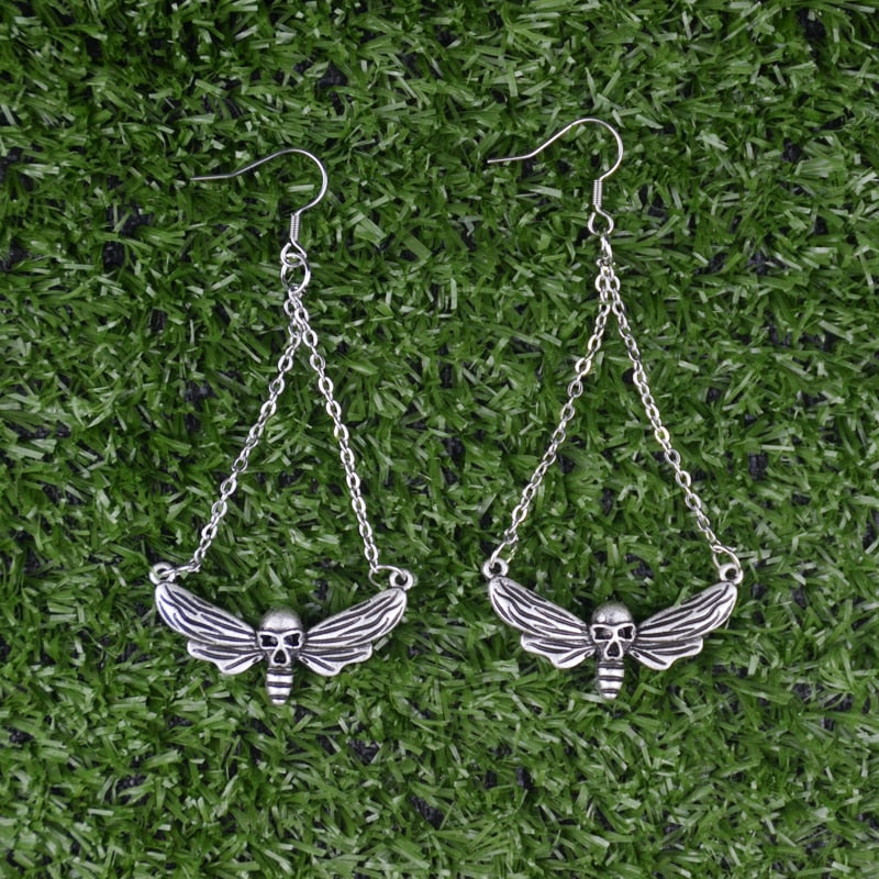 Skull Moth Butterfly Dangle Earrings