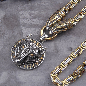 Wolf Head Norse Viking Thor Hammer Necklace