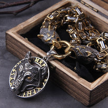 Load image into Gallery viewer, Wolf Head Norse Viking Thor Hammer Necklace