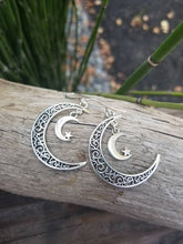 Load image into Gallery viewer, Crescent Moon & Stars Celestial Earrings
