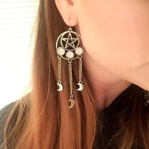 Witchy Pentagram Moon Dangle Earrings