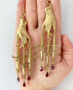 Golden Hand & Dagger Witchy Earrings