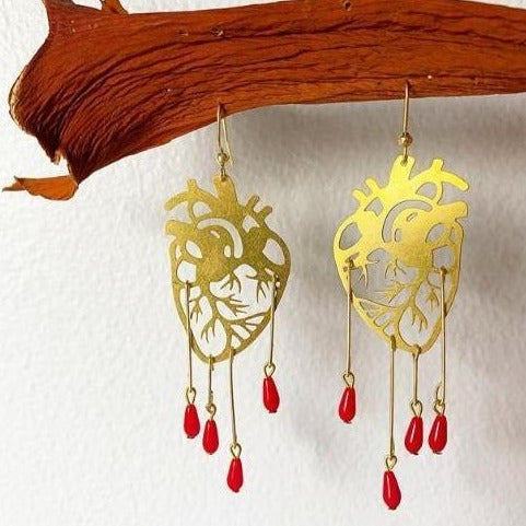 Human Heart Earrings with Red Blood Drops