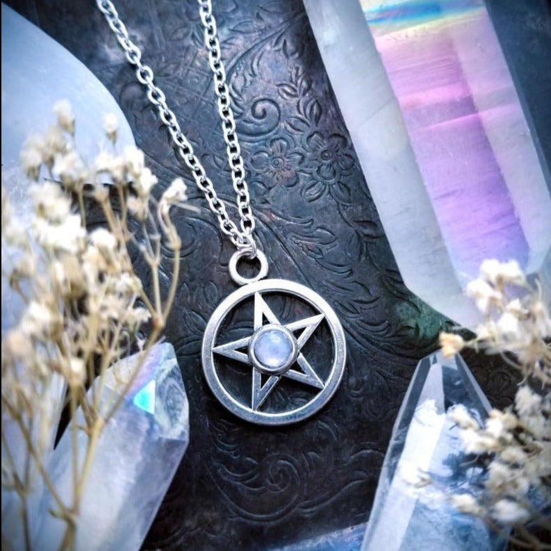 Natural Moonstone Pentacle Necklace