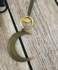 Crescent Moon Evil Eye Pendant Necklace