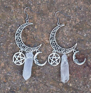 Moon Pentagram Quartz Witchy Earrings
