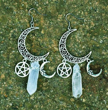 Load image into Gallery viewer, Moon Pentagram Quartz Witchy Earrings