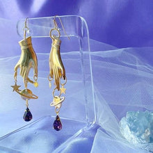 Load image into Gallery viewer, Solar System Galaxy Witchy Earrings