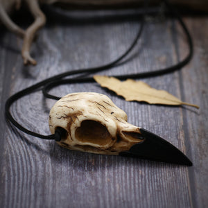 Large Crow Skull Pendant Necklace