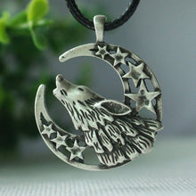 Load image into Gallery viewer, Celestial Howling Wolf Moon Cord Necklace