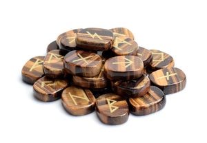Natural Tiger Eye Runes Set with Pouch