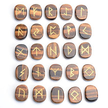 Load image into Gallery viewer, Natural Tiger Eye Runes Set with Pouch