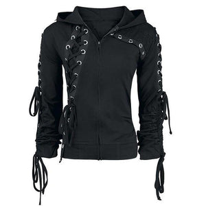 Goth Lace up Hooded Sweatshirt