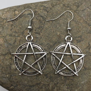 Silver Pentagram Earrings