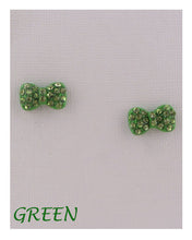 Load image into Gallery viewer, Bow earrings w/decorative rhinestones