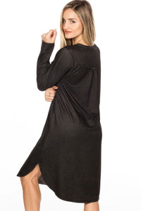 Lace Up V Neck Loose Tunic Dress